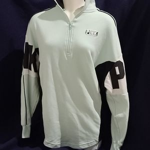 PINK mint and black half zip pullover